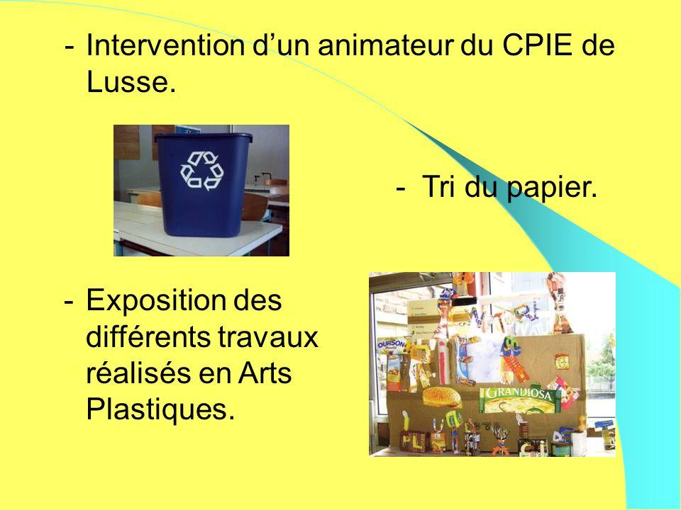 - Intervention dun animateur du CPIE de Lusse. -Exposition des différents travaux réalisés en Arts Plastiques. - Tri du papier.