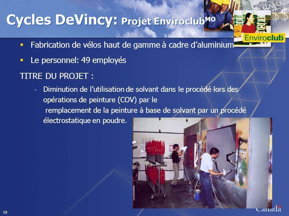 18 Cycles DeVincy: Projet Enviroclub MO Fabrication de vélos haut de gamme à cadre daluminium Le personnel: 49 employés TITRE DU PROJET : Diminution d