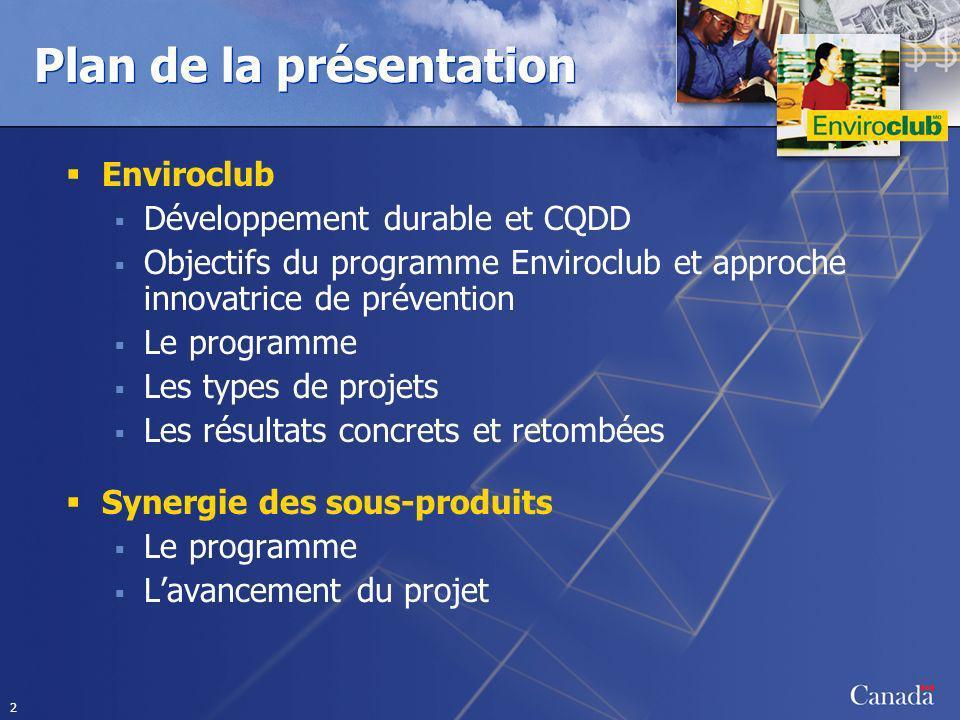 2 Plan de la présentation Enviroclub Développement durable et CQDD Objectifs du programme Enviroclub et approche innovatrice de prévention Le programm