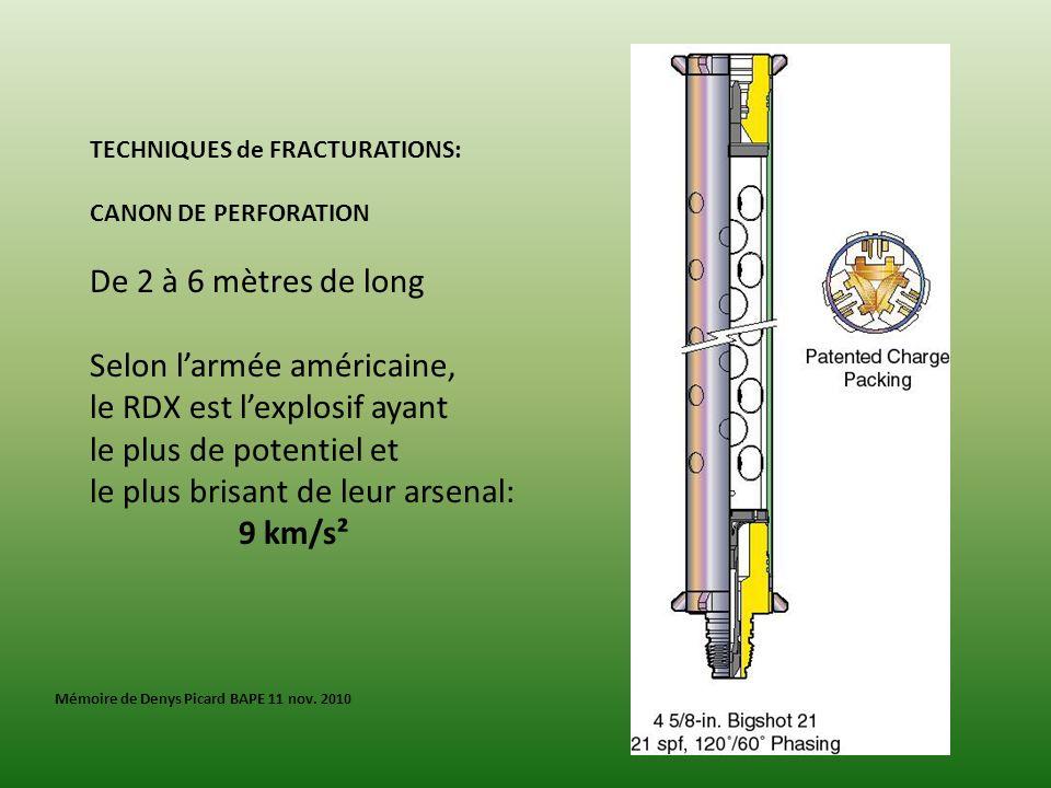 TECHNIQUES de FRACTURATIONS: CANON DE PERFORATION De 2 à 6 mètres de long Selon larmée américaine, le RDX est lexplosif ayant le plus de potentiel et