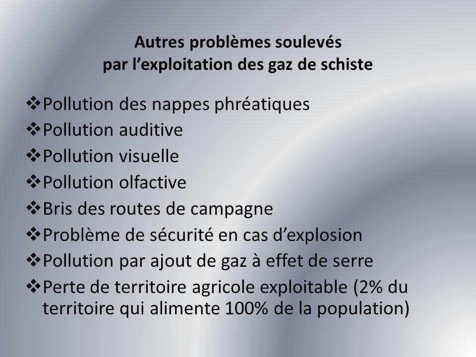 Pollution des nappes phréatiques Pollution auditive Pollution visuelle Pollution olfactive Bris des routes de campagne Problème de sécurité en cas dex