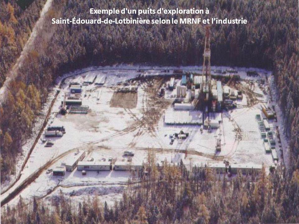 Exemple d'un puits d'exploration à Saint-Édouard-de-Lotbinière selon le MRNF et lindustrie
