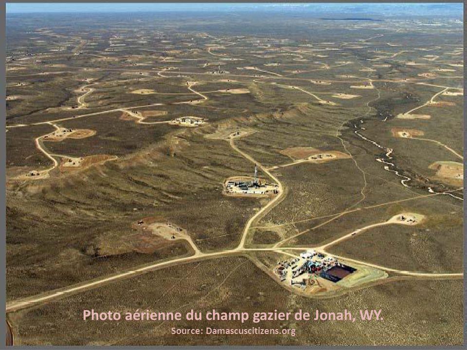 Photo aérienne du champ gazier de Jonah, WY. Source: Damascuscitizens.org
