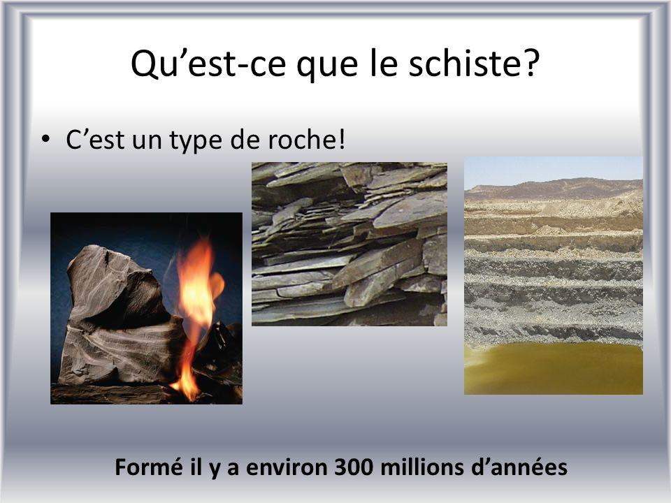 Quest-ce que le schiste? Cest un type de roche! Formé il y a environ 300 millions dannées