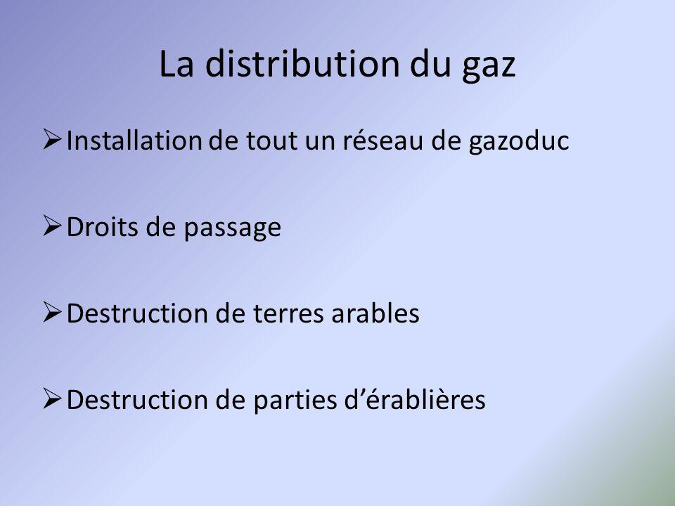 La distribution du gaz Installation de tout un réseau de gazoduc Droits de passage Destruction de terres arables Destruction de parties dérablières