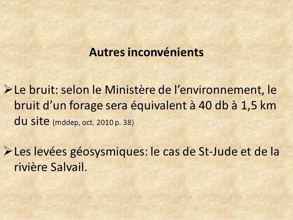 Autres inconvénients Le bruit: selon le Ministère de lenvironnement, le bruit dun forage sera équivalent à 40 db à 1,5 km du site (mddep, oct. 2010 p.