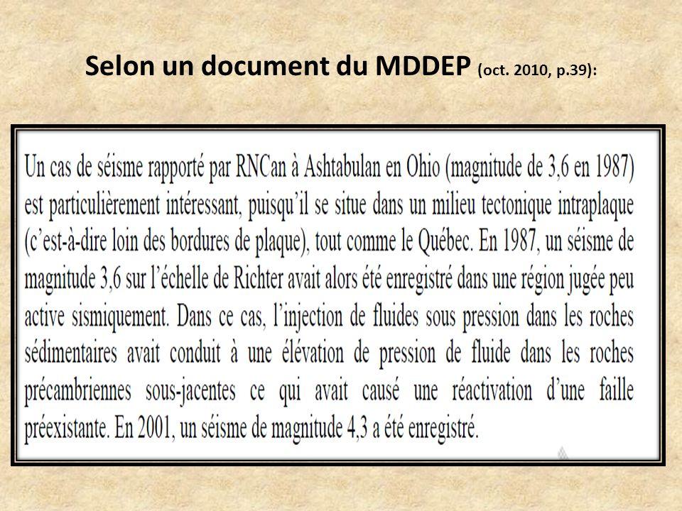 Selon un document du MDDEP (oct. 2010, p.39):