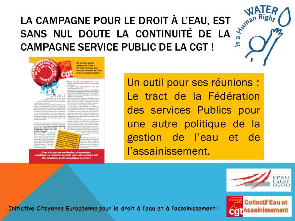 Un outil pour ses réunions : Le tract de la Fédération des services Publics pour une autre politique de la gestion de leau et de lassainissement.