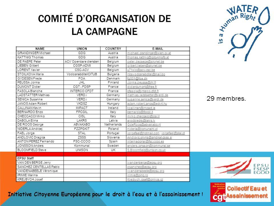COMITÉ DORGANISATION DE LA CAMPAGNE NAMEUNIONCOUNTRYE-MAIL GRANDINGER MichaelGDGAustriamichael.grandinger@wien.gv.at KATTNIG ThomasGDGAustriathomas.ka