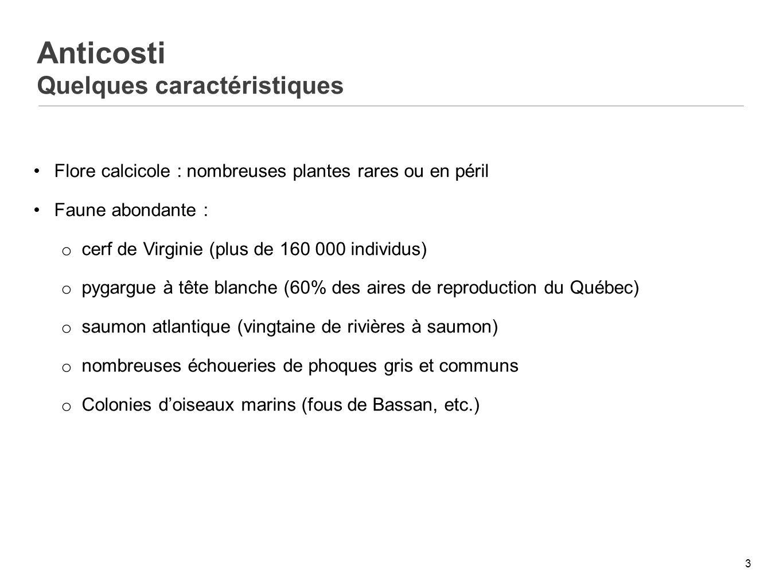 4 Anticosti Leau douce, une ressource limitée Lacs très peu nombreux et faibles dimensions.