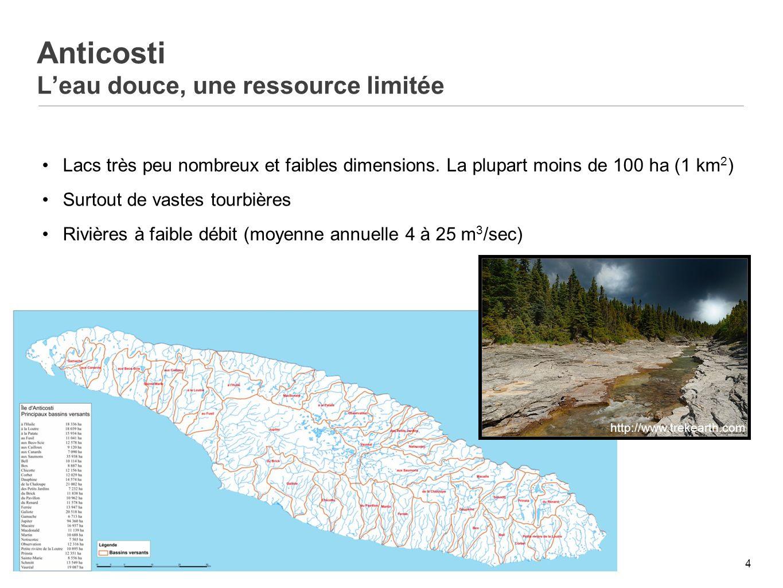 5 Anticosti Une ressource fragile, le saumon atlantique Vingtaine de rivières à saumon Populations en déclin (en voie de disparition – COSEPAC)