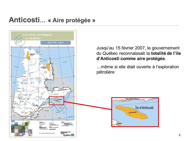 Anticosti Aires protégées en milieu terrestre 9 Aires protégées : 7,7 % Permis dexploration : 92,3 %