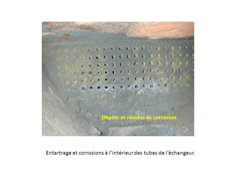 Entartrage et corrosions à lintérieur des tubes de léchangeur. Dépôts et résidus de corrosion