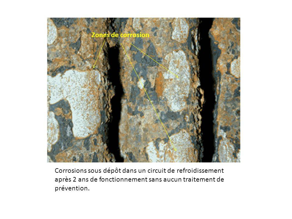 Corrosions sous dépôt dans un circuit de refroidissement après 2 ans de fonctionnement sans aucun traitement de prévention. Zones de corrosion