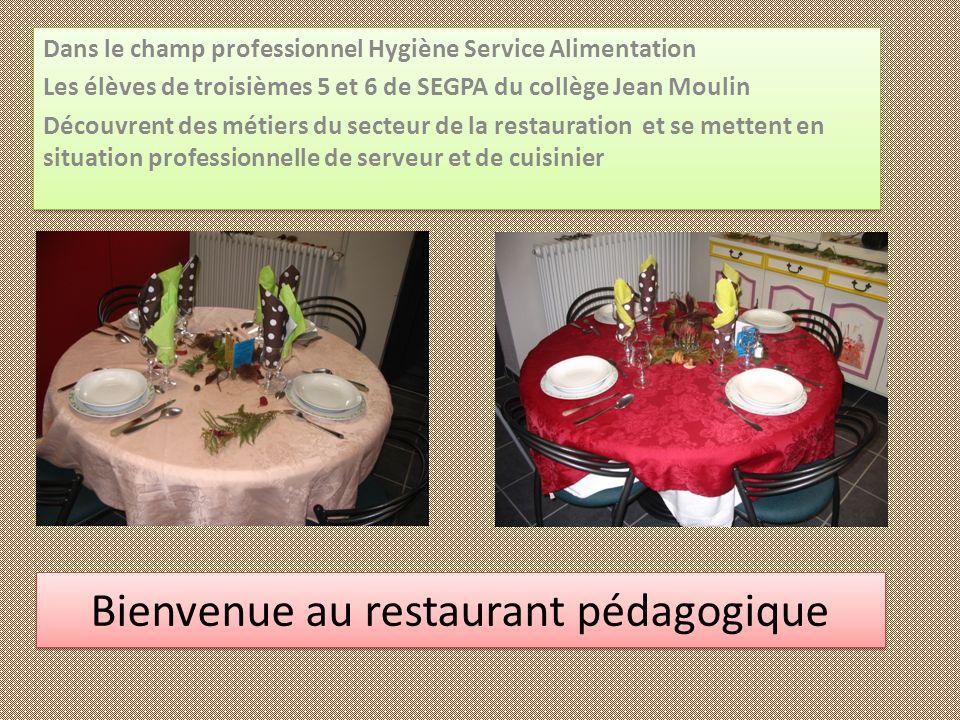 Bienvenue au restaurant pédagogique Bienvenue au restaurant pédagogique Dans le champ professionnel Hygiène Service Alimentation Les élèves de troisiè