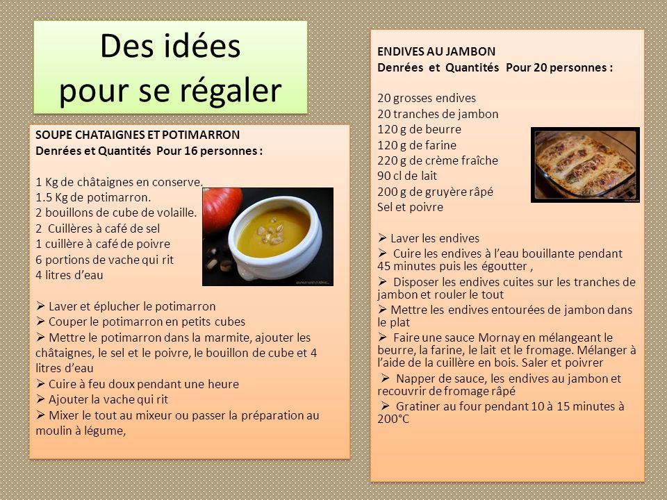 Des idées pour se régaler ENDIVES AU JAMBON Denrées et Quantités Pour 20 personnes : 20 grosses endives 20 tranches de jambon 120 g de beurre 120 g de