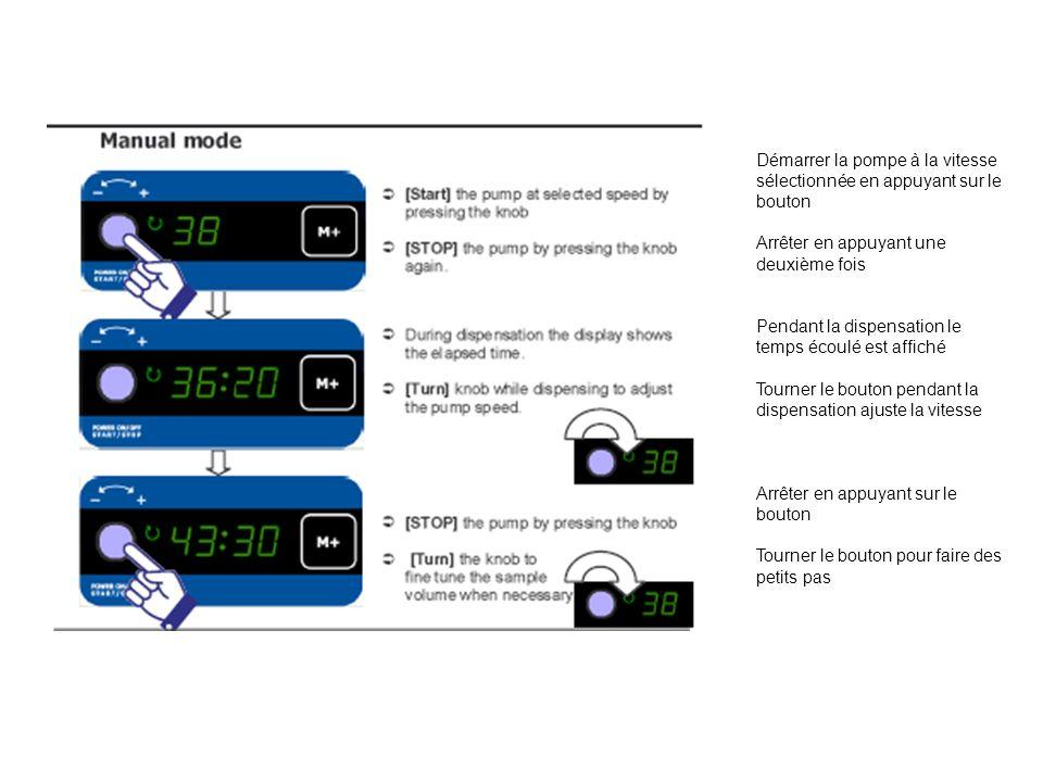 Démarrer la pompe à la vitesse sélectionnée en appuyant sur le bouton Arrêter en appuyant une deuxième fois Pendant la dispensation le temps écoulé es