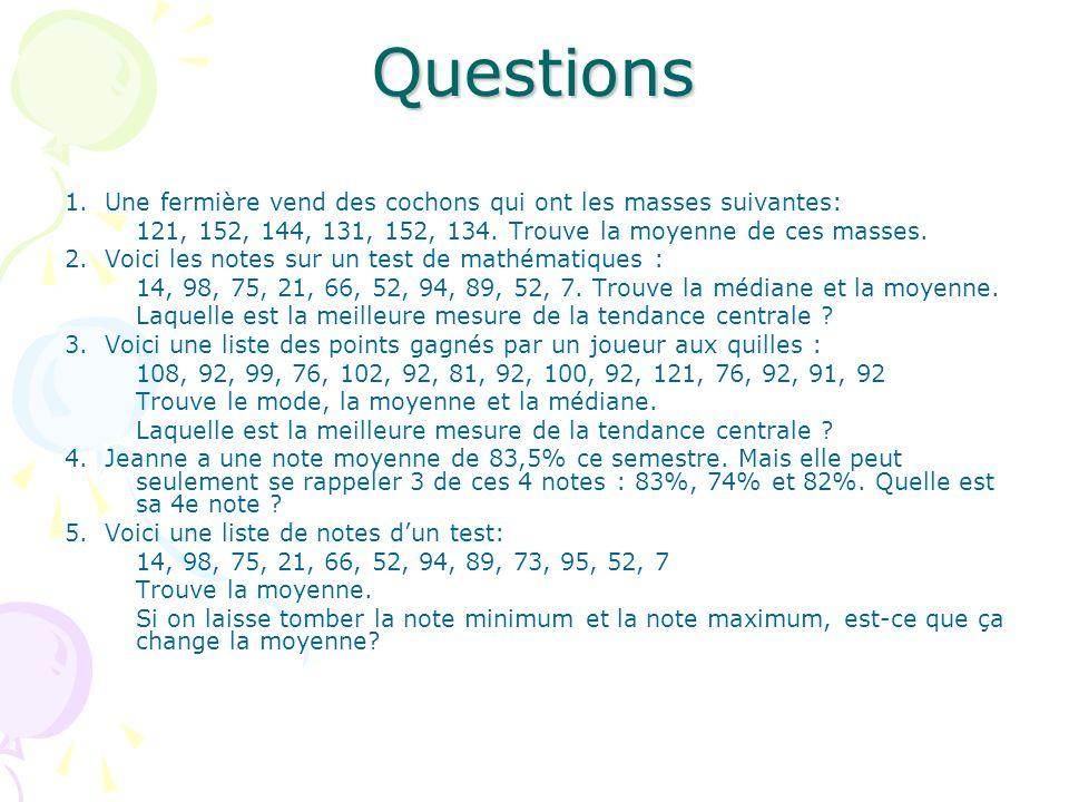 Questions 1. Une fermière vend des cochons qui ont les masses suivantes: 121, 152, 144, 131, 152, 134. Trouve la moyenne de ces masses. 2. Voici les n