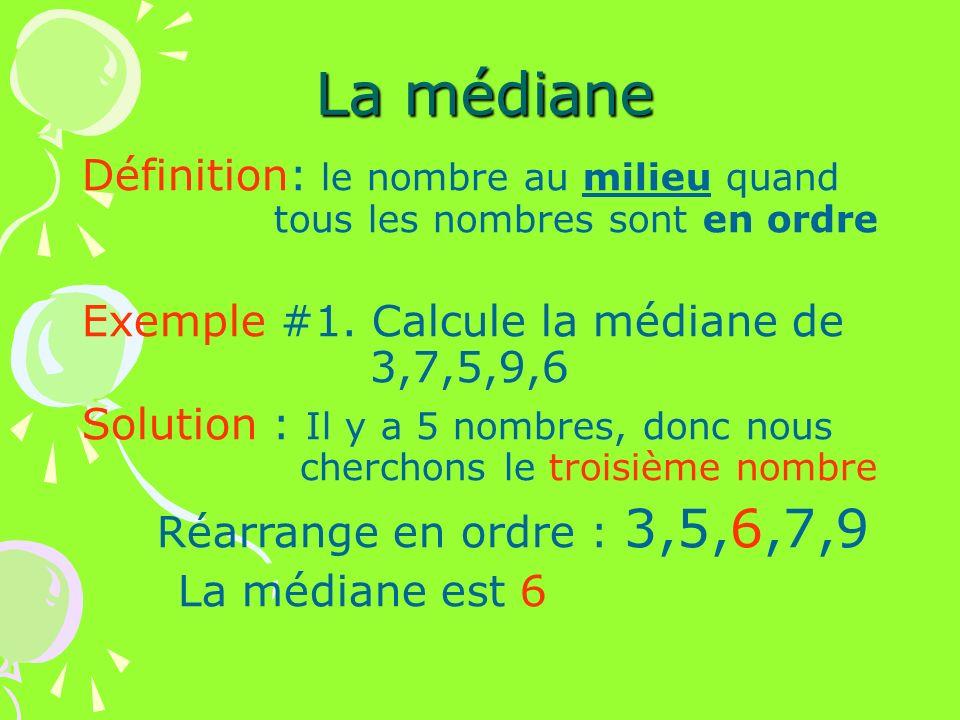 La médiane Définition: le nombre au milieu quand tous les nombres sont en ordre Exemple #1. Calcule la médiane de 3,7,5,9,6 Solution : Il y a 5 nombre