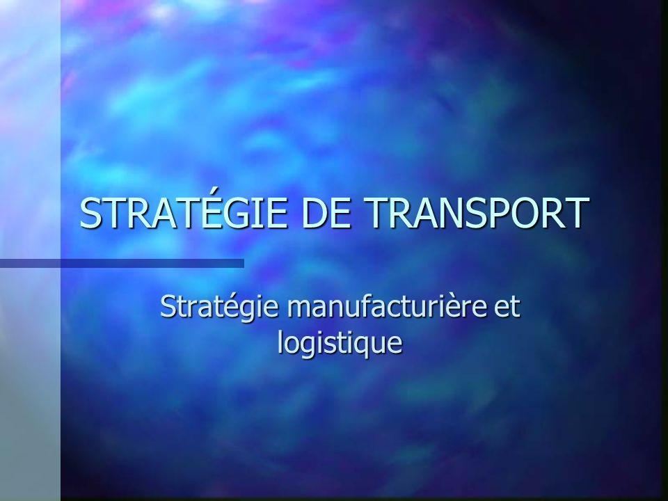 Transport public n Critères de choix d un transporteur public –Les coûts :comprend le fret mais aussi l emballage, les chargement, l entreposage … requis lorsque un moyen de transport est choisi