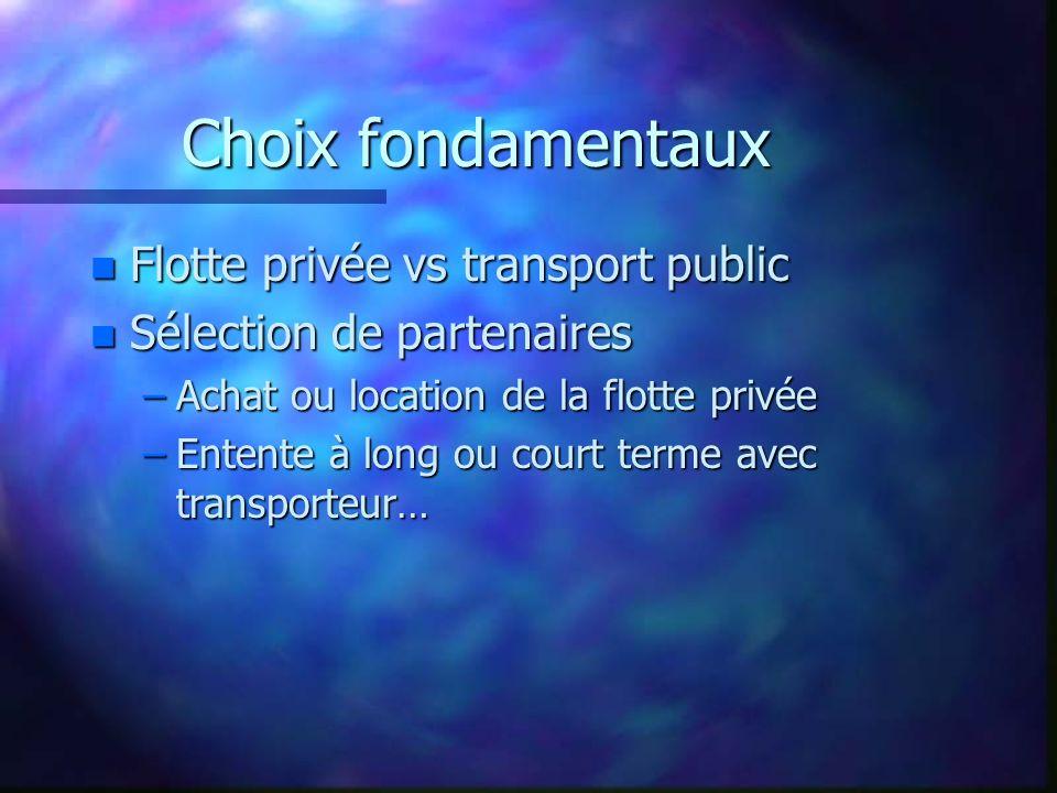 Choix fondamentaux n Flotte privée vs transport public n Sélection de partenaires –Achat ou location de la flotte privée –Entente à long ou court term