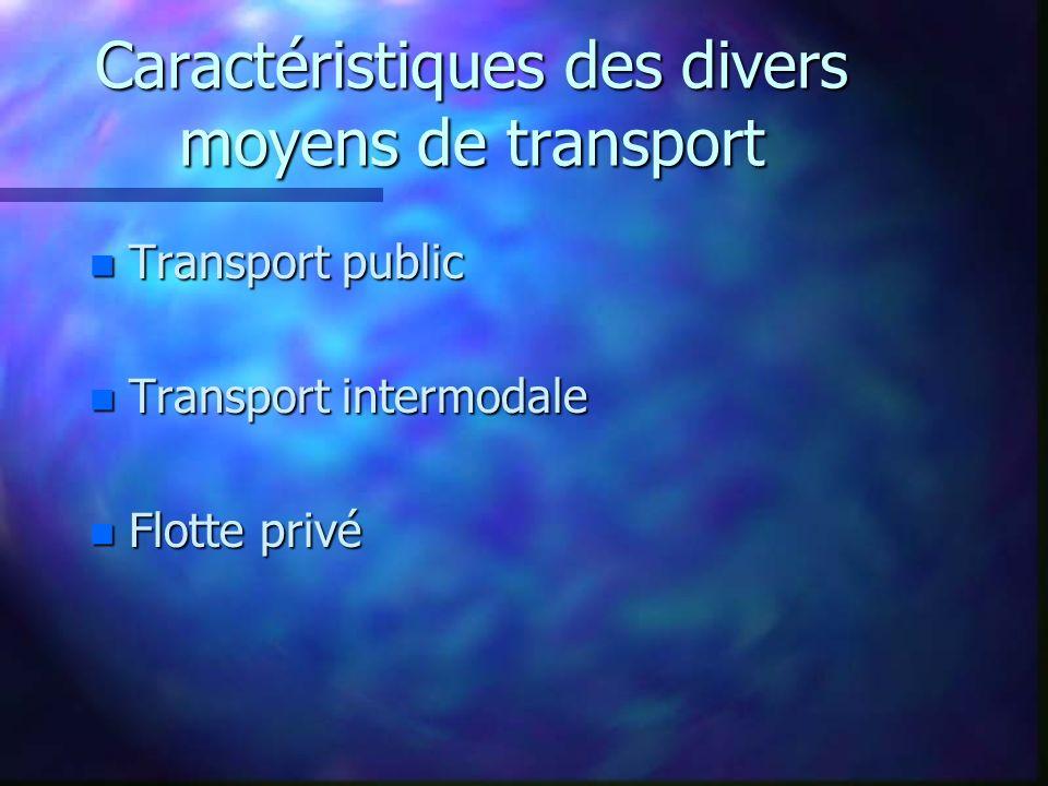Caractéristiques des divers moyens de transport n Transport public n Transport intermodale n Flotte privé
