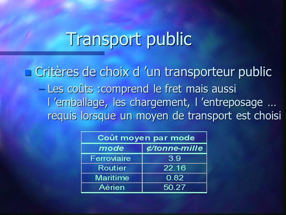 Transport public n Critères de choix d un transporteur public –Les coûts :comprend le fret mais aussi l emballage, les chargement, l entreposage … req
