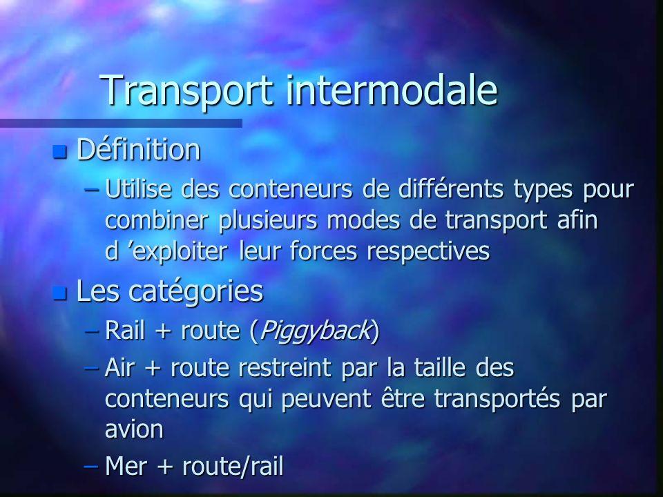 Transport intermodale n Définition –Utilise des conteneurs de différents types pour combiner plusieurs modes de transport afin d exploiter leur forces respectives n Les catégories –Rail + route (Piggyback) –Air + route restreint par la taille des conteneurs qui peuvent être transportés par avion –Mer + route/rail