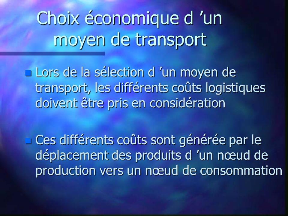 Choix économique d un moyen de transport n Lors de la sélection d un moyen de transport, les différents coûts logistiques doivent être pris en considération n Ces différents coûts sont générée par le déplacement des produits d un nœud de production vers un nœud de consommation