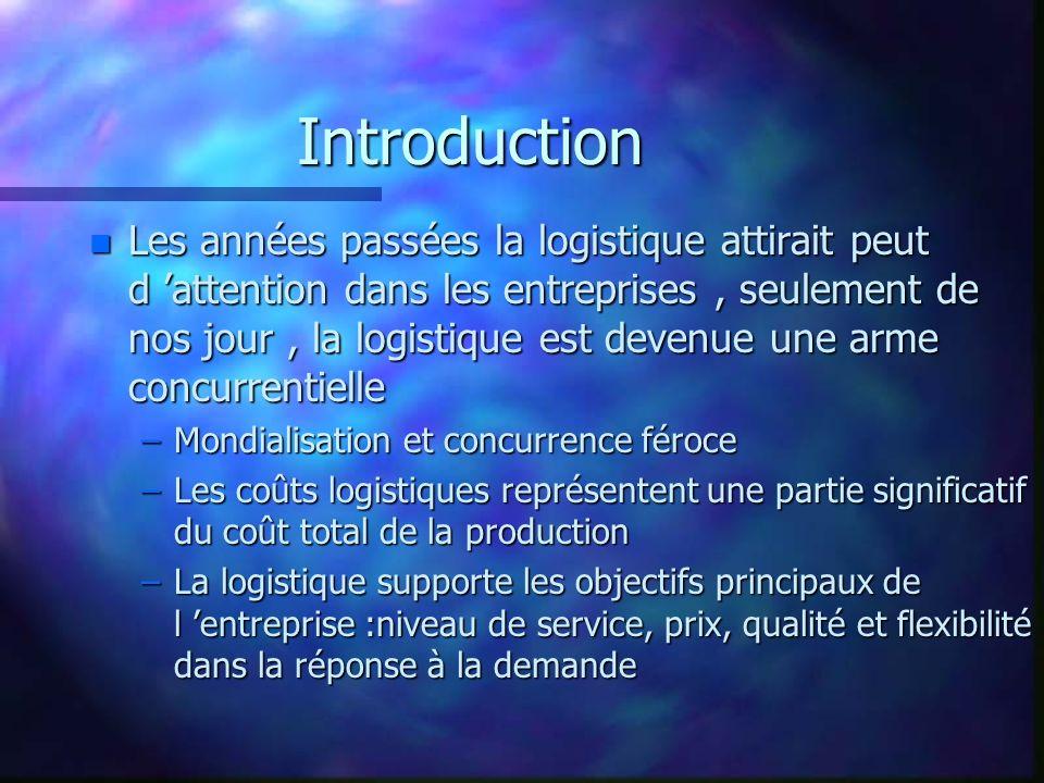 Introduction n Définition: d après Daganzo la logistique est une ensembles d activités dont l objectif est de déplacer des items entre origines et destinations efficacement