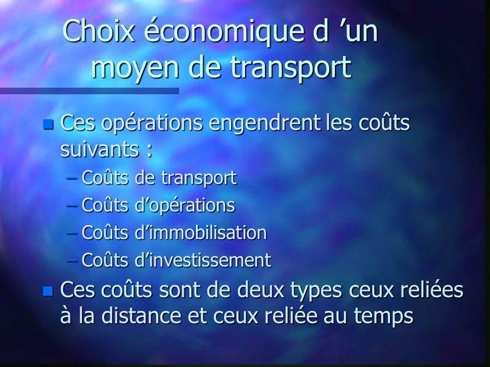 Choix économique d un moyen de transport n Ces opérations engendrent les coûts suivants : –Coûts de transport –Coûts dopérations –Coûts dimmobilisatio