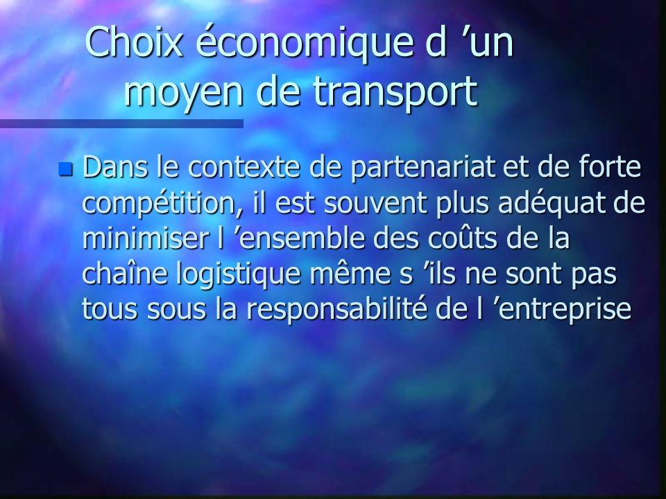 Choix économique d un moyen de transport n Dans le contexte de partenariat et de forte compétition, il est souvent plus adéquat de minimiser l ensembl