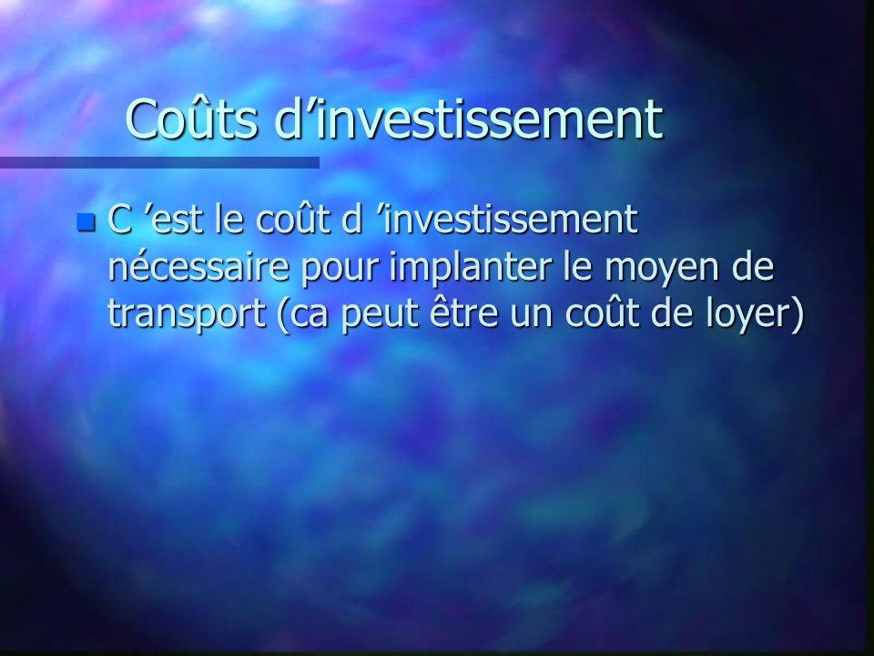 Coûts dinvestissement n C est le coût d investissement nécessaire pour implanter le moyen de transport (ca peut être un coût de loyer)