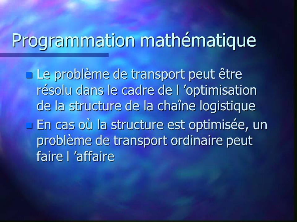 Programmation mathématique n Le problème de transport peut être résolu dans le cadre de l optimisation de la structure de la chaîne logistique n En cas où la structure est optimisée, un problème de transport ordinaire peut faire l affaire
