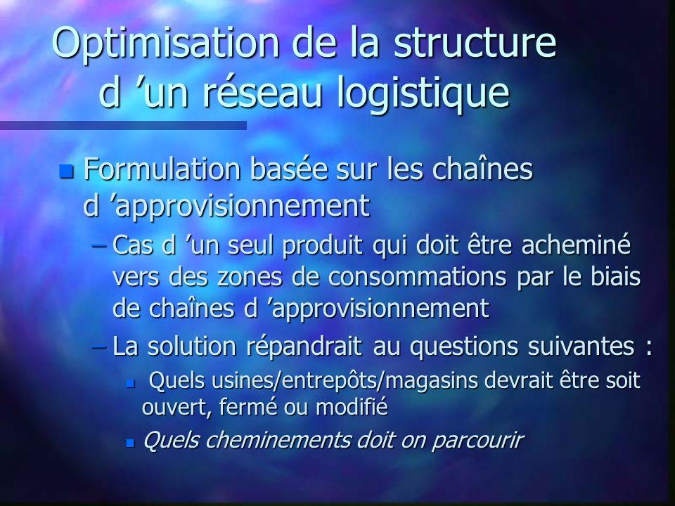 Optimisation de la structure d un réseau logistique n Formulation basée sur les chaînes d approvisionnement –Cas d un seul produit qui doit être achem