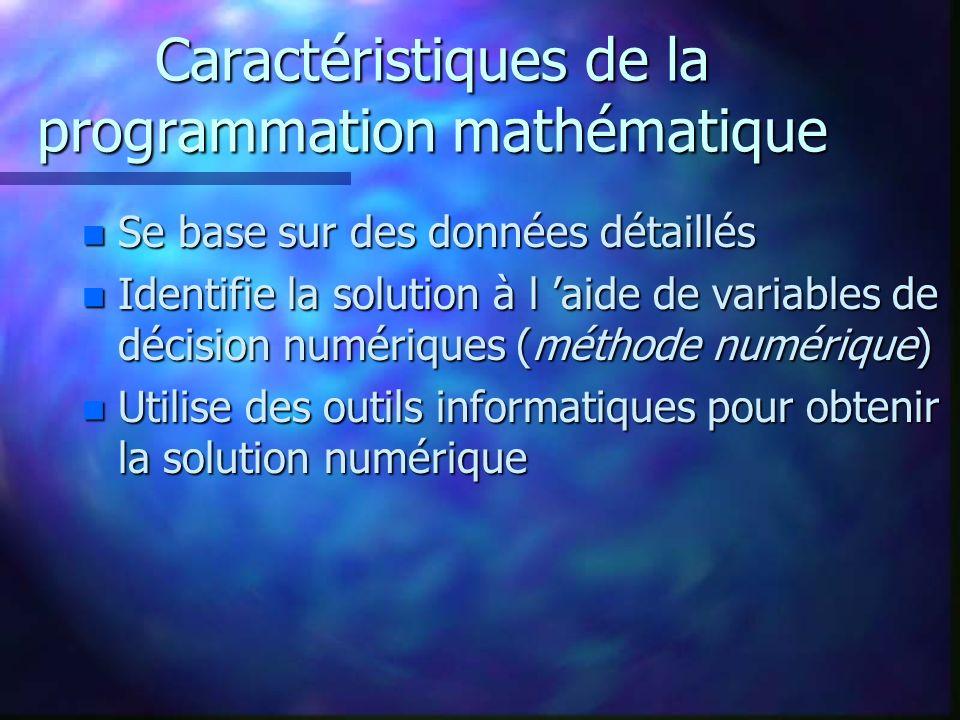 Caractéristiques de la programmation mathématique n Se base sur des données détaillés n Identifie la solution à l aide de variables de décision numéri