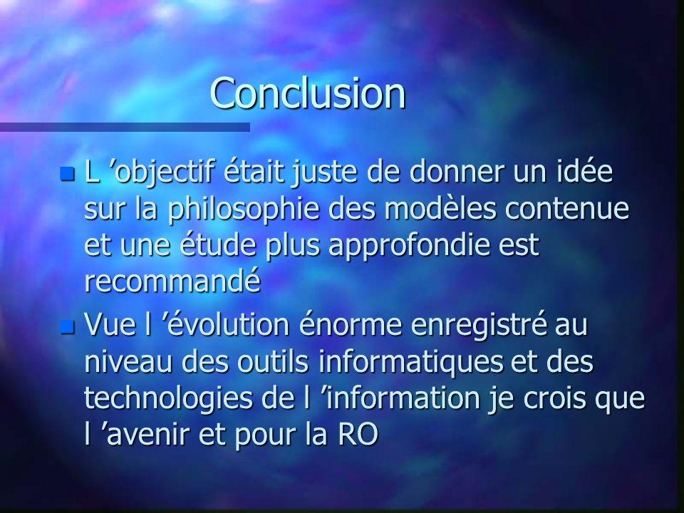 Conclusion n L objectif était juste de donner un idée sur la philosophie des modèles contenue et une étude plus approfondie est recommandé n Vue l évolution énorme enregistré au niveau des outils informatiques et des technologies de l information je crois que l avenir et pour la RO