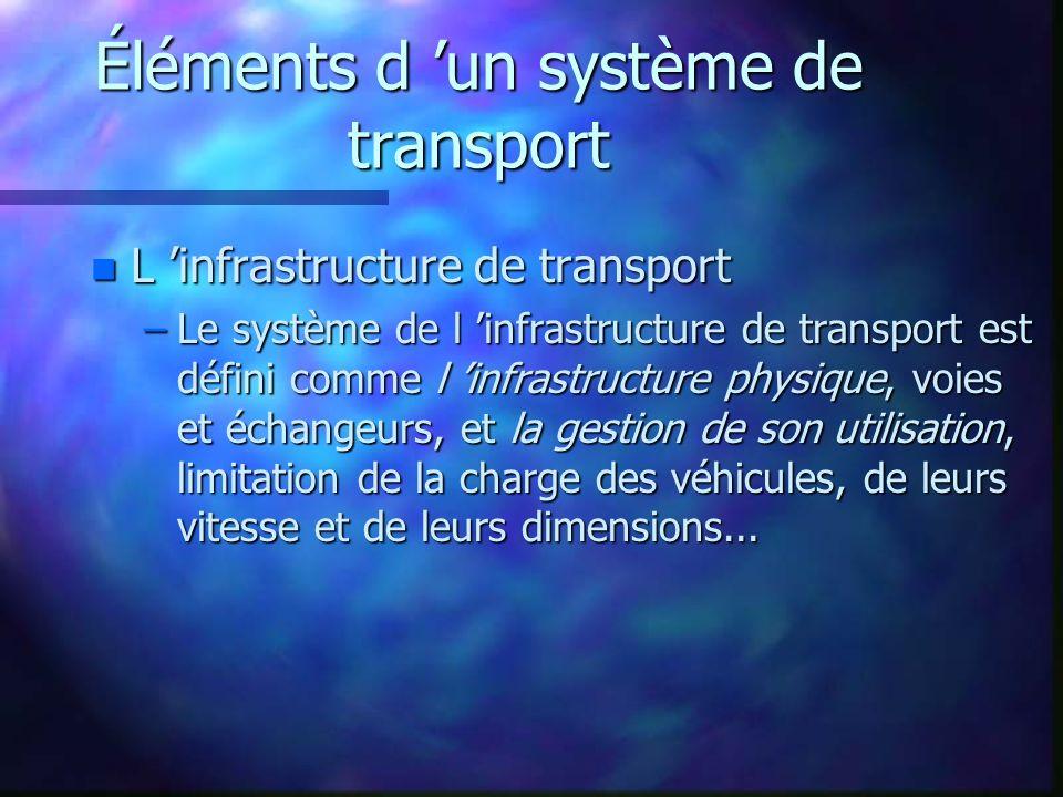 Éléments d un système de transport n L infrastructure de transport –Le système de l infrastructure de transport est défini comme l infrastructure phys