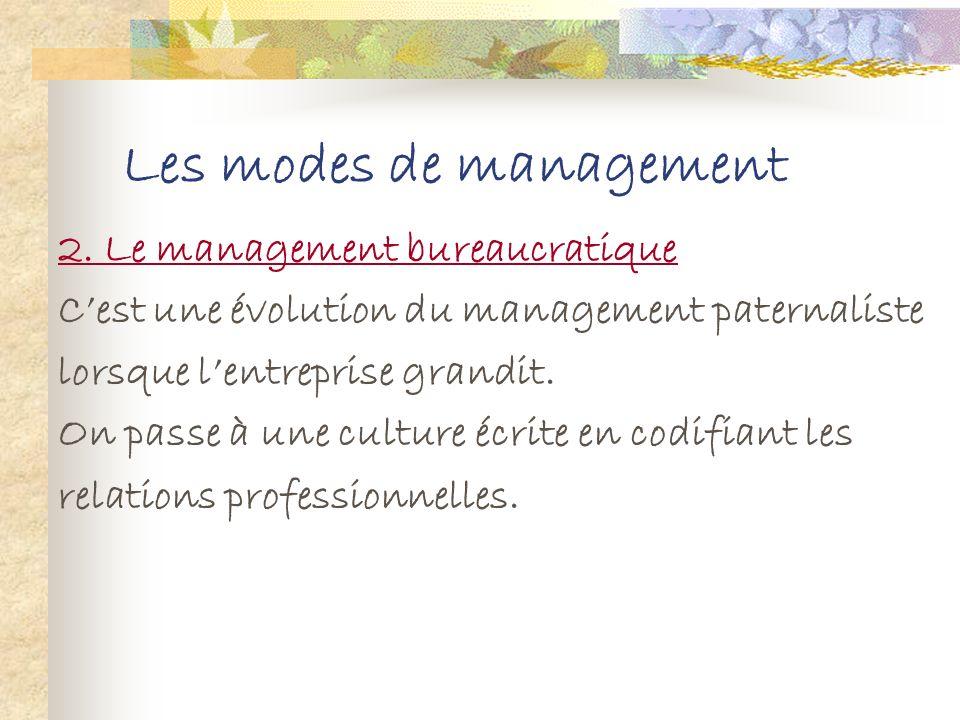 Les modes de management Avantages du management paternaliste : S il y a une bonne entente au sein de lentreprise, il y a aura une notion de devoir (pa