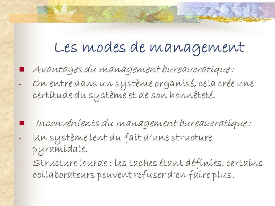 Les modes de management 2. Le management bureaucratique Cest une évolution du management paternaliste lorsque lentreprise grandit. On passe à une cult