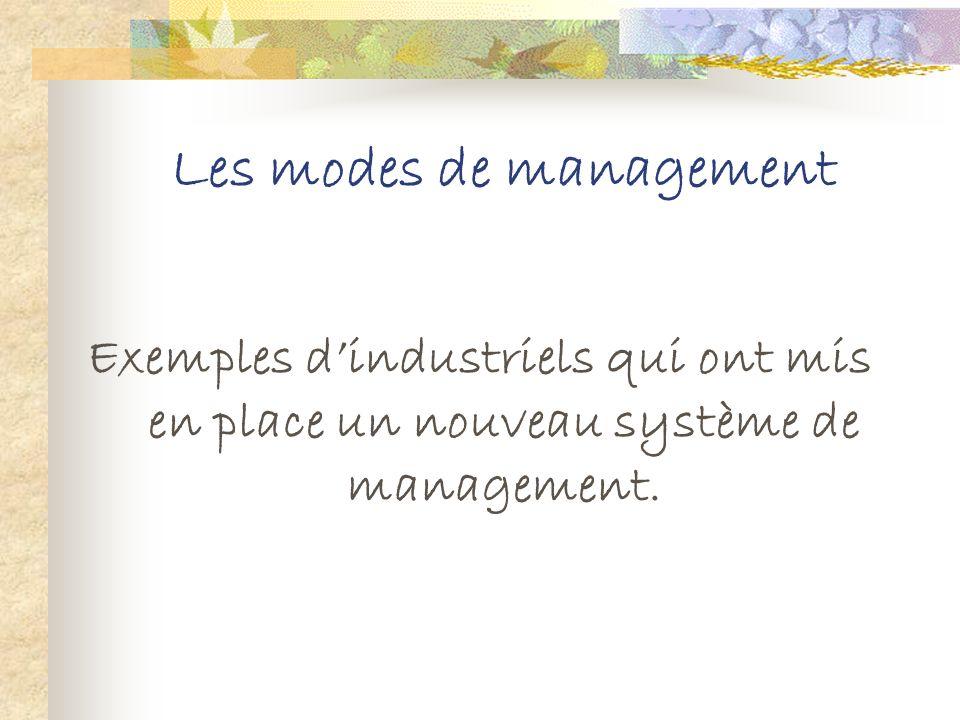 Les modes de management Le management à la japonaise Il sagit dun management Zen issu dune religion appelée le CHINTOISME qui repose sur quatre valeur