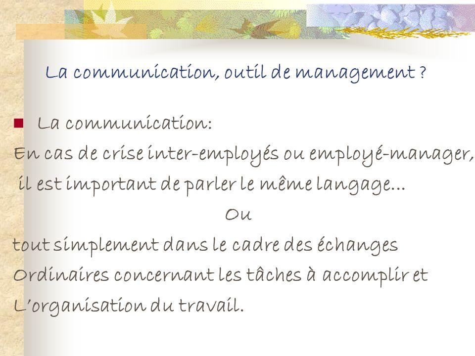 La communication, outil de management ?