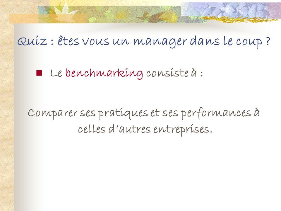 Quiz : êtes vous un manager dans le coup ? Le benchmarking consiste à : 1. Tester de nouveaux produits avant de lancer le plan marketing 2. Comparer s