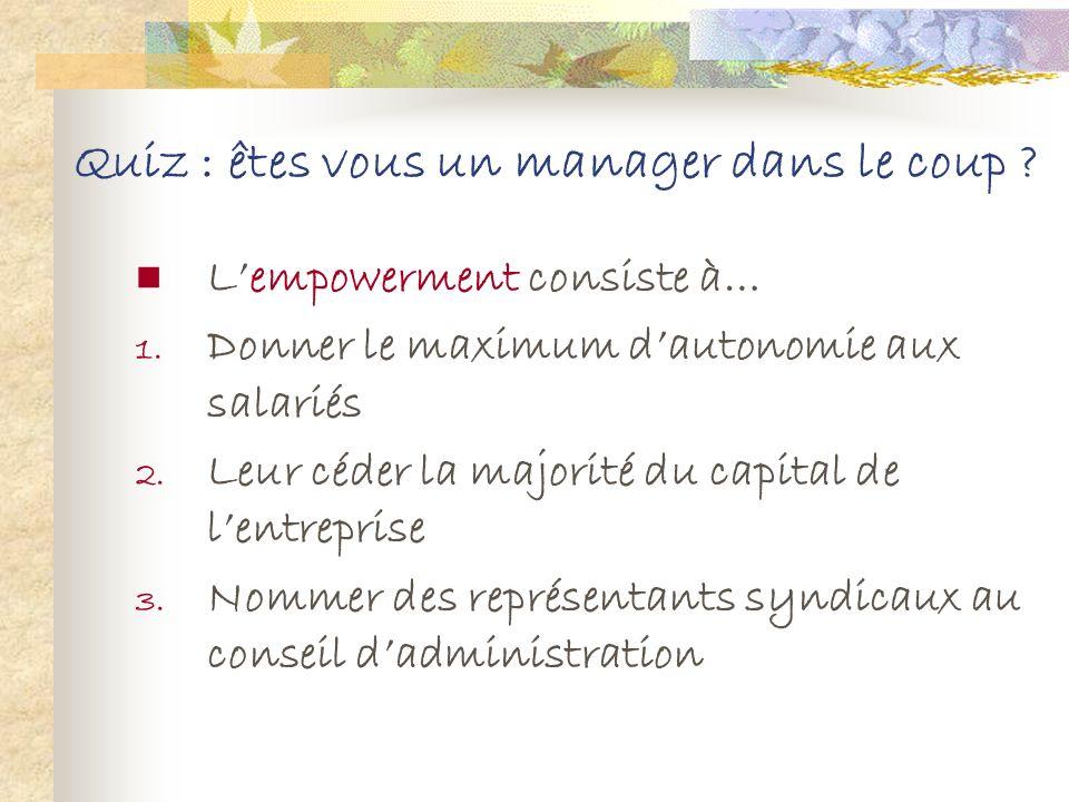 Quiz : êtes vous un manager dans le coup ? Le benchmarking consiste à : Comparer ses pratiques et ses performances à celles dautres entreprises.