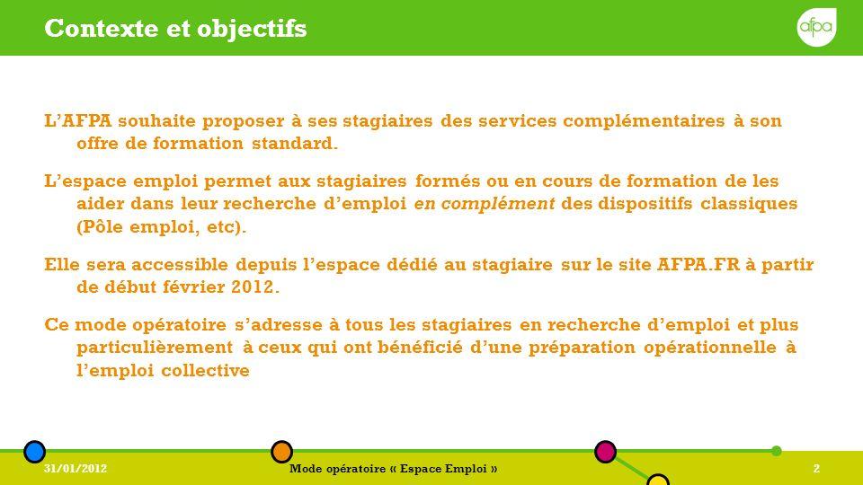 31/01/2012Mode opératoire « Espace Emploi »3 Les 5 étapes à retenir pour postuler 12345 Postuler à une offre demploi sur lespace emploi AFPA.FR