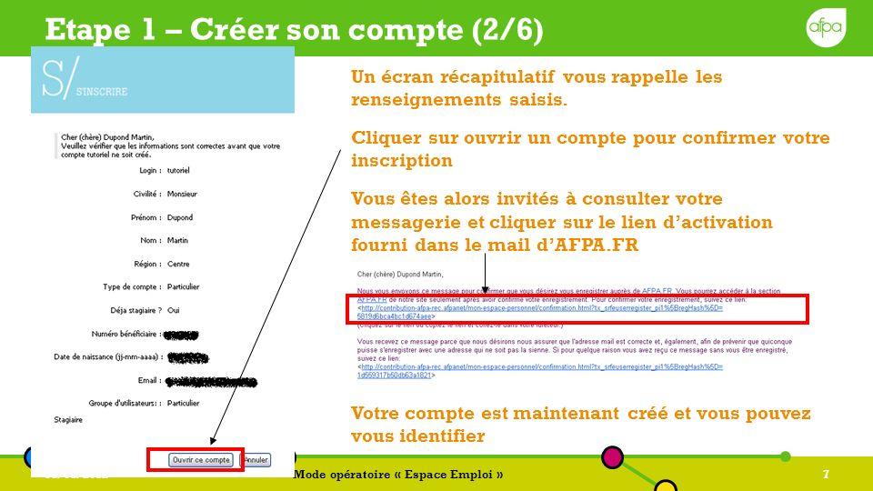 31/01/2012Mode opératoire « Espace Emploi »8 Etape 1 – Sidentifier Cliquer sur sidentifier et saisir vos login / mot de passe que vous avez acquis lors de linscription