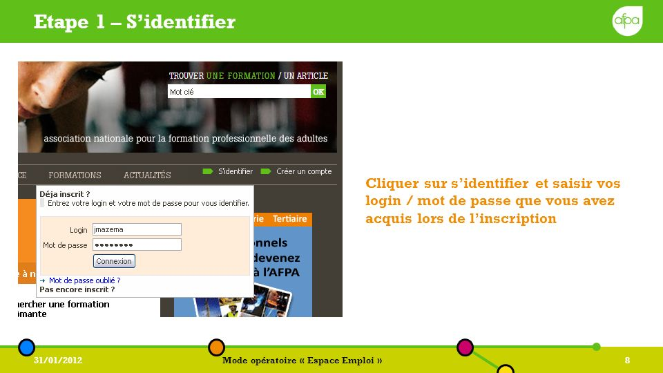 31/01/2012Mode opératoire « Espace Emploi »8 Etape 1 – Sidentifier Cliquer sur sidentifier et saisir vos login / mot de passe que vous avez acquis lor