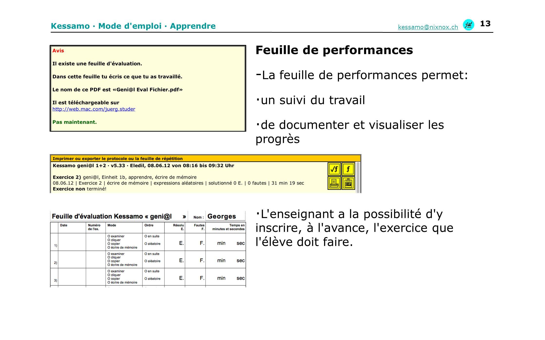 Kessamo · Mode d'emploi · Apprendre kessamo@nixnox.ch 13 Feuille de performances - La feuille de performances permet: · un suivi du travail · de docum
