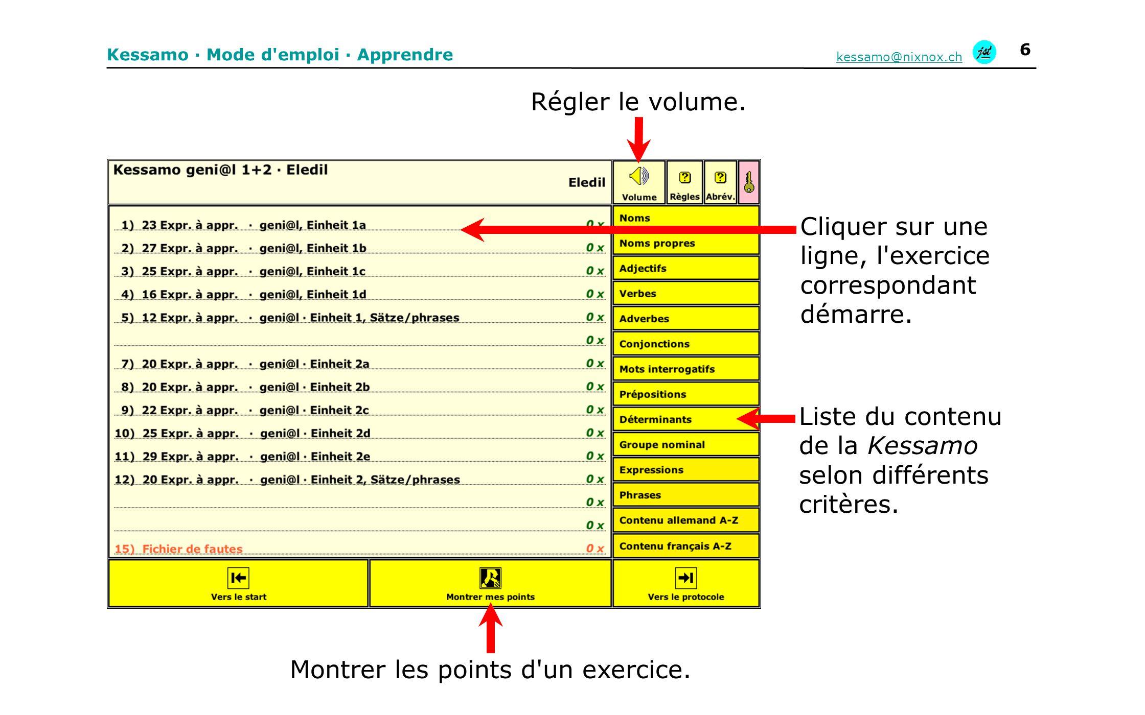 Kessamo · Mode d'emploi · Apprendre kessamo@nixnox.ch 6 Montrer les points d'un exercice. Régler le volume. Liste du contenu de la Kessamo selon diffé
