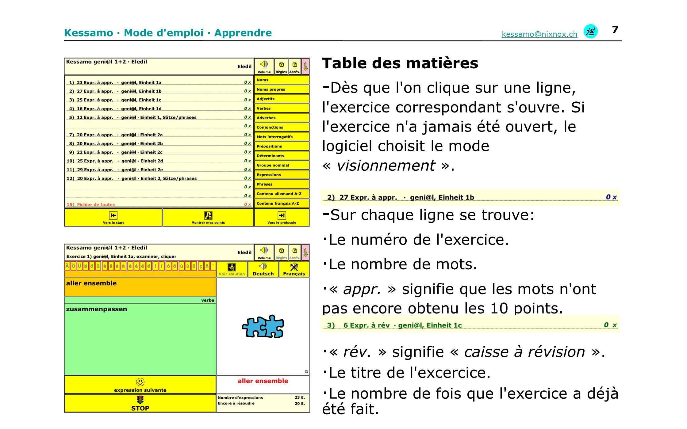 Table des matières - Dès que l'on clique sur une ligne, l'exercice correspondant s'ouvre. Si l'exercice n'a jamais été ouvert, le logiciel choisit le